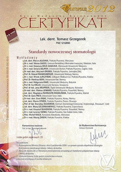 certyfikat Impla 12