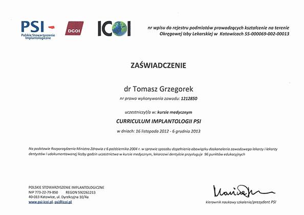 certyfikat Impla 20