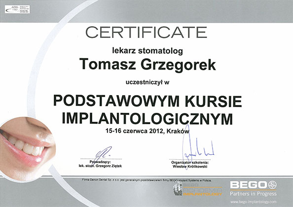 certyfikat Impla 25
